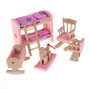 Conjunto De Habitacion Mueble De Madera Para Casa De Munecas Juguete