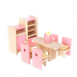 Dollhouse Un Conjunto Muebles De Madera De Casa Mesa Silla