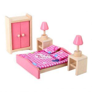 Freda muñecas muebles casa de muñecas muebles 28 piezas cama de bebé y camita cama para niños
